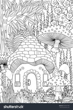 Landscape Coloring Books for Adults. 20 Landscape Coloring Books for Adults. Landscape Coloring Page Fairy Coloring Pages, Coloring Pages To Print, Coloring Sheets, Coloring Books, House Colouring Pages, Free Adult Coloring, Printable Adult Coloring Pages, Colorful Drawings, Embroidery Patterns