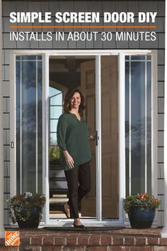 Home Design Drawing Here's an easy home improvement project for this weekend. The Andersen LuminAire Retractable Screen Door installs in about 30 minutes with basic tools. Get it exclusively at The Home Depot. Retractable Screen Door, Diy Screen Door, Diy Door, Screen Doors, Screens For Doors, Front Doors, Front Porch, Home Improvement Projects, Home Projects