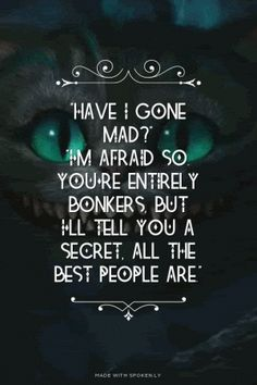 """""""Have I gone mad?""""<br>""""I'm afraid so. You're entirely bonkers, But I'll tell you a secret, All the best people are."""""""