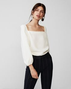 Square Neck Puff Sleeve Blouse