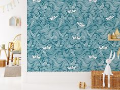 Our Wavy Boats wallpaper, puts a smile on every face! Ocean vibes in a kids room or playroom adds fun and calmness to it! Easy do-it-yourself wall fabric. Choose between Peel & Stick Wallpaper or Pasted Wallpaper (Free adhesive). Free shipping above $250 in Australia 🇦🇺 Wallpaper Edge, Kids Wallpaper, Peel And Stick Wallpaper, Watercolor Moon, Kids Watercolor, Removable Wall Murals, Hand Painted Walls, Little Houses, Playroom
