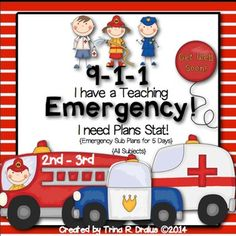Emergency sub plans are perfect for that last minute sickness that catches you off guard. Have you ever woken up sick and didn't have  plans ready to go? Or worse, you are required to have lesson plans but never got around to completing them. Now you do!This packet includes five full days of emergency sub plans for the 2nd-3rd-grade teacher. {The days don't have to be consecutive.} The lessons are detailed and provide instruction and activities for reading, writing, language review…