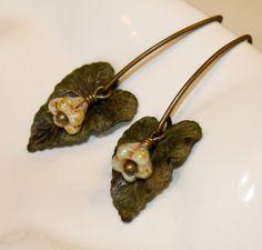 Metal Leaf earrings verdigris patina ivy by CharmingLifeJewelry, $15.00