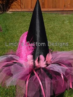 Hot Pink & Black Witch Hat for Toddlers Girls by sweethearttutus