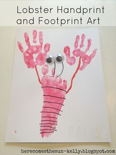 Here Comes the Sun: Lobster Handprint and Footprint Art