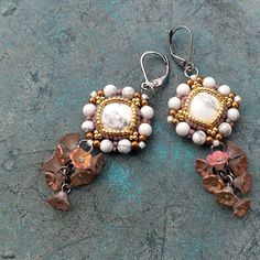 """Romance"" earrings - magnesite cabochons, Miyuki Delica, TOHO 15/0, Czech pressed flowers"