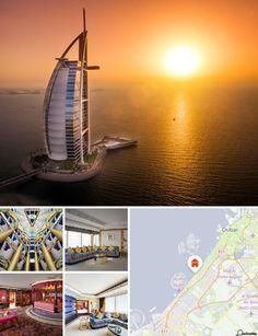 Este deslumbrante hotel de luxo situa-se no centro do Dubai e é um dos mais célebres e mais caros do mundo. A 'Torre Arábica', com os seus 321 m de altura, é o hotel mais alto do mundo e o novo símbolo do Dubai. Nenhum outro hotel é como este. Faz parte do complexo Jumeirah Beach Resort e localiza-se a cerca de 15 km a sul da cidade do Dubai. Este magnífico edifício em forma de vela encontra-se numa ilha artificial a cerca de 280 m do continente, ao qual se encontra ligado por um pontão. É o…