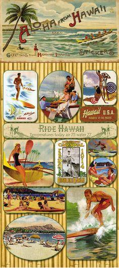 Aloha From Hawaii Vintage Stickers.