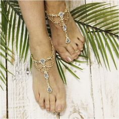 "SOMETHING BLUE barefoot sandals - gold wedding, foot jewelry, beach wedding, bridal ""PIN this pretty for later!'"