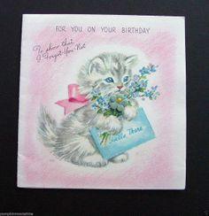 G458 Vintage Marjorie M Cooper Birthday Greeting Card Cute Cat Blue Flowers | eBay