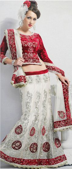 Off #White Net A-Line #Lehenga Choli With #Dupatta @ $ 191.10