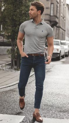 48 spring chic outfits for men's street style 35 is part of Polo shirt outfits - 48 spring chic outfits for men's street style 35 Polo Shirt Outfits, Polo Shirt Style, Polo Outfit, Mens Polo T Shirts, Mens Jeans Outfit, Blue Shirt Outfit Men, Mens Sweater Outfits, Shirt Men, Mens Club Outfit
