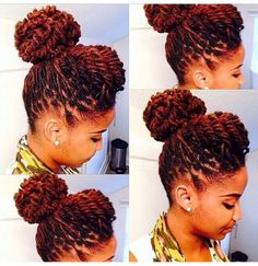 Beautiful locs updo - http://www.blackhairinformation.com/community/hairstyle-gallery/updos/beautiful-locs-updo/ #locs #updo #color