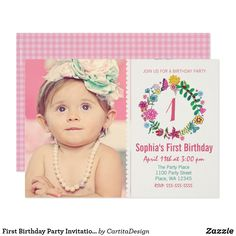 First Birthday Party Invitation Girl Flowers Photo Cartita design ©2015 All Rights Reserved Feel free to change or add text! I Hope you enjoy my illustrations! Look for your favorite first birthday card in my store!