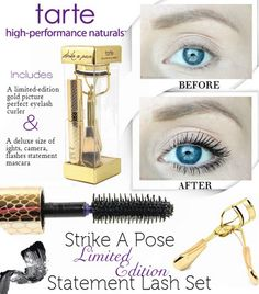 Are you a fan of tarte cosmetics revolutionary lights, camera, flashes statement mascara? If so, you will love their limited-edition lash set, strike a pose ($19 USD). This is a great little duo that includes a limited-edition gold picture perfect eyelash curler and a deluxe size of the lights, camera, flashes statement mascara.   #makeup #beauty #bbloggers #beautyblogger #eyes #mascara #tartecosmetics