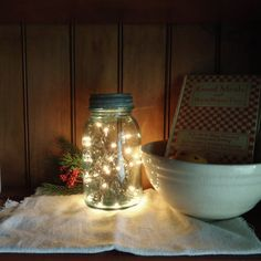 Country Primitive, Christmas decor, vintage Christmas, Mason Jar light, mason jar lantern, Farmhouse kitchen, rustic night light on Etsy, $22.00