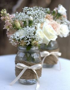 Twine wrapped mason jars // Originally Seen: on pinterest // Short & Sweet: >> Short & Sweet: Thumbs up.  This project isn't complicated and does turn out looking like the Pinterest post.  Perfect outdoor shower or casual, rustic wedding decor. // Maid to the Maids: The Busy Bridesmaid 040813