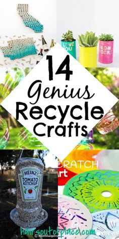 14 easy and useful recycle crafts you'll love to DIY that teens, kids, and adults will love. These would be fun to sell too! Projects include plastic crafts, cans, for the garden and more. Crafts 14 Fun and Easy Recycle Art Projects - Hairs Out of Place Arts And Crafts For Adults, Arts And Crafts For Teens, Art And Craft Videos, Art Projects For Teens, Easy Arts And Crafts, Arts And Crafts Projects, Diy Crafts To Sell, Diy Crafts For Kids, Upcycling Projects For Kids
