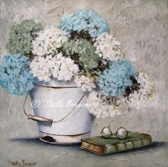 Stella Bruwer white enamel bucket with white green and aqua hydrangeas green book eye glasses