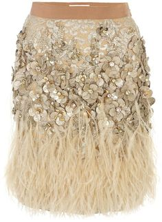 MATTHEW WILLIAMSON ENGLAND   Lacquer Lace Feather Skirt ~~ would love something like this~