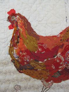 Mandy Pattullo - appliqued and hand embroidered chicken on very old quilt fragment - I hadn't thought of appliquéing onto an old quilt or fabric Bird Applique, Embroidery Applique, Art Textile, Textile Artists, Gallus Gallus Domesticus, Chicken Quilt, Stitch Drawing, Farm Quilt, Free Motion Embroidery