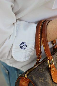 monogram cuffs and monogram cufflinks.