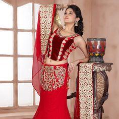 Red Net Lehenga Choli with Dupatta