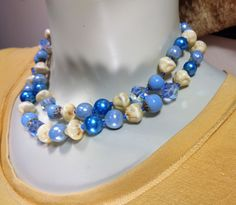 Vendome Multi-Strand Necklace Blue and Cream Glass Crystals Beads Elegant Vintage Vendome Crystal and Art Bead Necklace in Blue and Cream by CrowsNestAntiques on Etsy