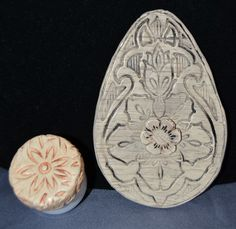 Faux Ivory CAMEX lid and egg carving
