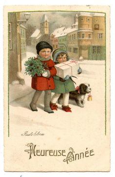PAULI EBNER   HEUREUSE ANNéE HAPPY YEAR   PAYSAGE DE NEIGE.LANDSCAPED OF SNOW.