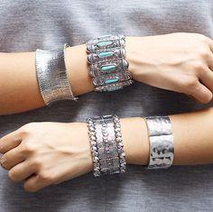Bracelete metal e turquesa