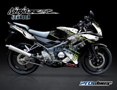 Striping Ninja 150 RR New Hitam Motif Leander Singa -Cutting Sticker Modifikasi Ninja 150 RR Hitam Singa