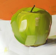ha love this! totally違反左特定畫蘋果嘅畫法~ //     green apple original fruit still life oil painting by moulton 5 x 5 inches on panel prattcreekart, via Etsy.