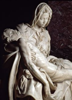 "michelangelogallery: ""  Michelangelo created this masterpiece when he was just 21 years old. This famous work of art depicts the body of Jesus on the lap of his mother Mary after the Crucifixion. Michelangelo's interpretation of the Pietà is unique..."
