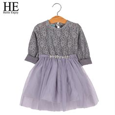 HE Hello Enjoy Girl Dress Long Sleeve Princess Dresses Casual Brand 2017 New kids clothes dress girl party lace clothing autumn #Affiliate