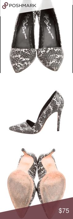 "ALICE + OLIVIA POINTED-TOE PRINTED PUMPS Black and white embossed leather Alice + Olivia pointed-toe pumps with tonal stitching and covered heels. Heels: 4.25"" Condition: Very Good. Faint scuffs at soles. Designer: Alice + Olive Alice + Olivia Shoes Heels"