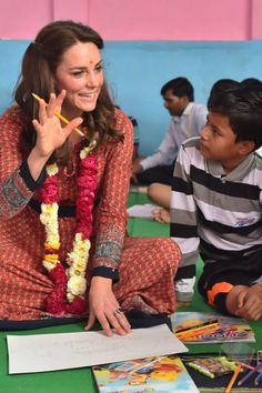 Kate Middleton Is in Full Mother Mode as She Colors With Children in India