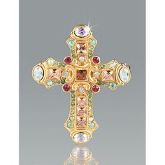 Christian Cross Pin/Pendant - Winter Garden