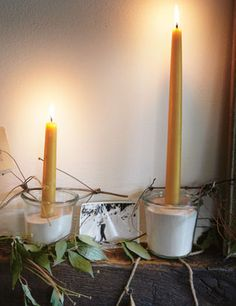 Beeswax candles, naturally and subtly honey-scented. As beeswax burns it emits negative ions which purify the air, cleaning it of dust, mold, bacteria, viruses, and other pollutants