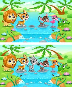 Buy Spot the Differences by ddraw on GraphicRiver. Spot the Differences. Two images with six changes between them, vector and cartoon illustrations. The folder contains. Toddler Learning Activities, Craft Activities For Kids, Infant Activities, Preschool Activities, Teaching Kids, Fun Worksheets For Kids, Mazes For Kids, Preschool Worksheets, Spot The Difference Kids