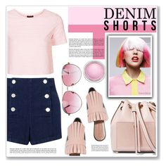 """dark denim shorts"" by nanawidia ❤ liked on Polyvore featuring Miss Selfridge, MICHAEL Michael Kors, Topshop, Marni, Minnie Rose and MAC Cosmetics"