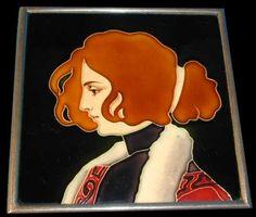 Carl Sigmund Luber, Plaque, Art Nouveau maiden, glazed earthenware, metal frame