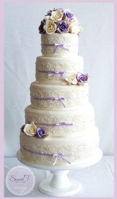 soft romanc, lace flowers, wedding shower cakes, wedding showers, ribbon, ivori soft, wedding cakes, rose cake, theme weddings