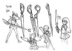 Yoh Yoshinari concept art of Ryuko Matoi.