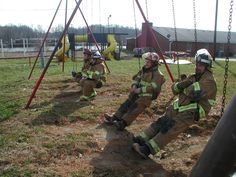 Firefighters at play. So how cute is this?? <3