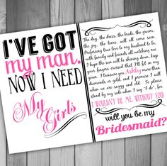 Will You Be My Bridesmaid Invitation Printable Bridal Party Invitation Wedding Bridesmaid Will You Be My Maid Of Honor on Etsy, $15.00