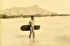 Dating back to 1890 this is perhaps the first photo ever taken of a surfer. The muscled Hawaiian beach man is photographed wearing a traditi...