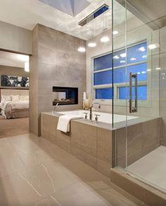 Contemporary Master Bathroom with Pendant Light, frameless showerdoor, Drop-In Bathtub, Master bathroom