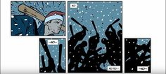 Panel placement can imply a subject moving in the direction of the sequential panels. Here, Hawkeye starts above and crumbles relatively down. The reader only ever looks up again to see the figures with bats beating him from above, further exemplify placement of subjects in a given space.