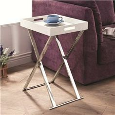 Tray Tables Contemporary White Tray Table with Chrome Base